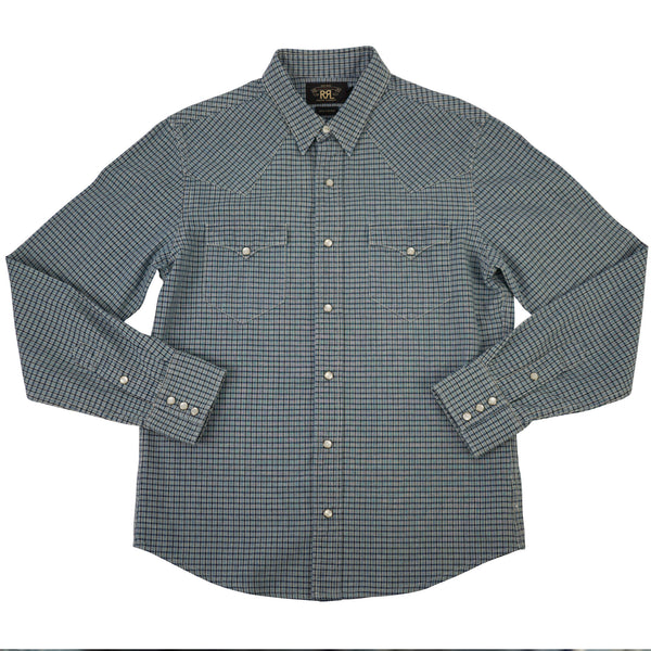 Blue Cotton Plaid Check Heritage Snap-Front Western Shirt M