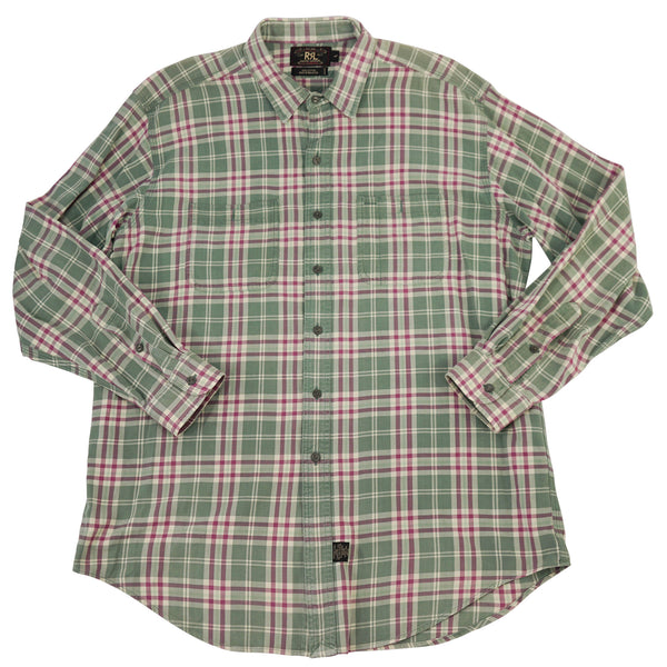 Green & Pink Cotton Plaid Check Heritage Workshirt L