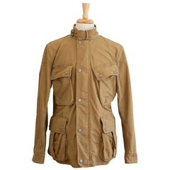 Tan Cotton Zip-Front Moto Rider Jacket L