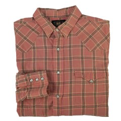 Pink & Gray Cotton Plaid Check Heritage Western Shirt L
