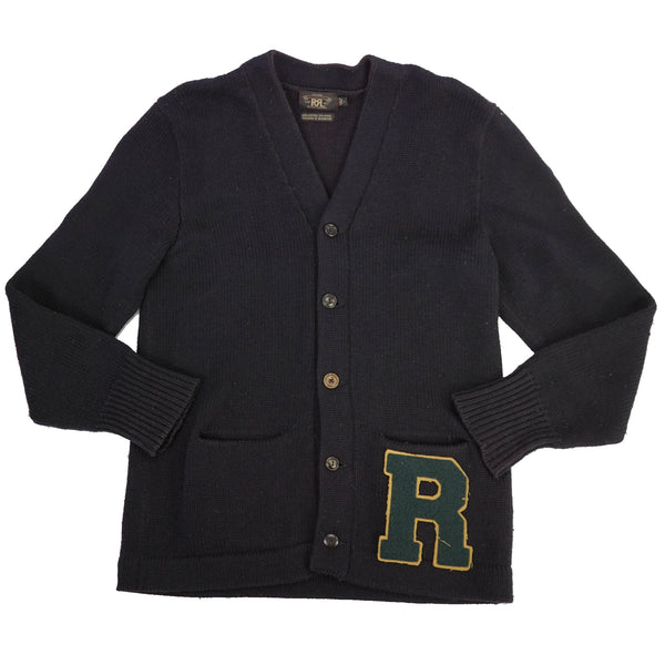 Navy Wool Blend Leather Logo Patch Cardigan L