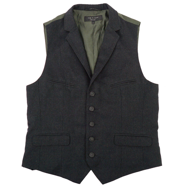 Charcoal Gray Notch Lapel Wool Buckle Back Vest M 40