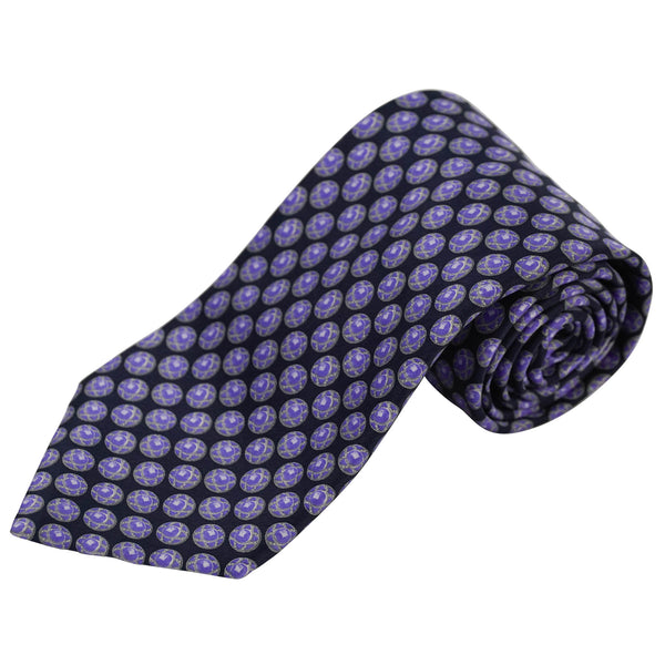Navy & Purple Circular Geometric Patterned Silk Tie