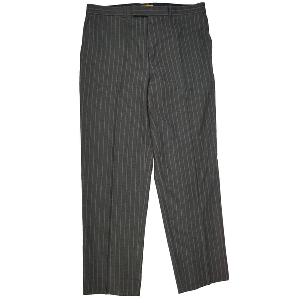Gray Pinstriped Wool Buckle Back Trousers 34x30