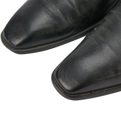 Black Italian Leather Double Monk Strap Loafers 9.5 M