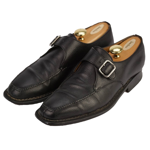 Black Leather Norvegese Split Toe Monk Straps US 11 EU 44