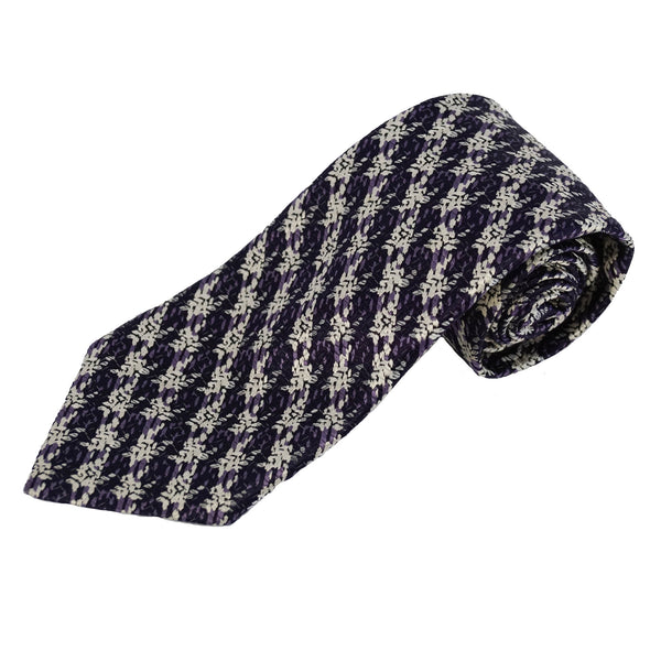 Purple Exploded Check Silk Tie
