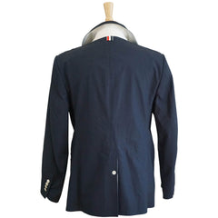 Navy Cotton Double Breasted Signature Trim Rain Coat L 3