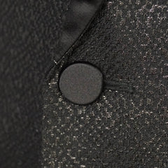 Shiny Black Metallic Wool Blend Shawl Lapel Smoking Jacket 40 R