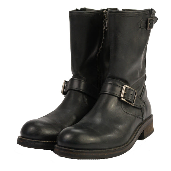 'Star USA' Black Leather Side-Zip Buckled Motorcycle Ankle Boots 9
