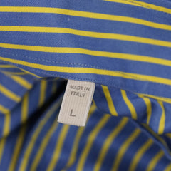 Blue & Yellow Striped Spread Collar Shirt L