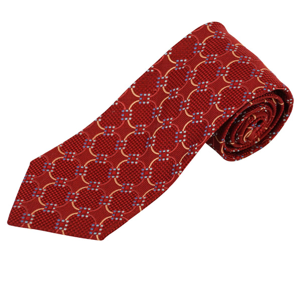 Red Circular Geometric Dot Pure Woven Silk Tie