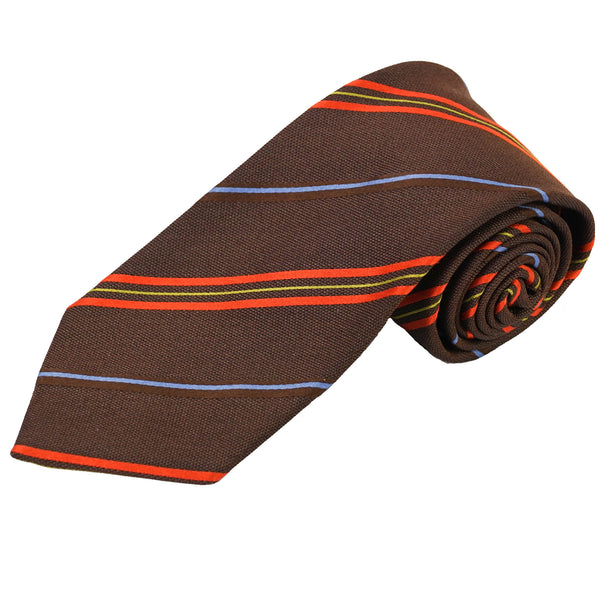 Brown Orange Blue & Gold Striped Silk Tie