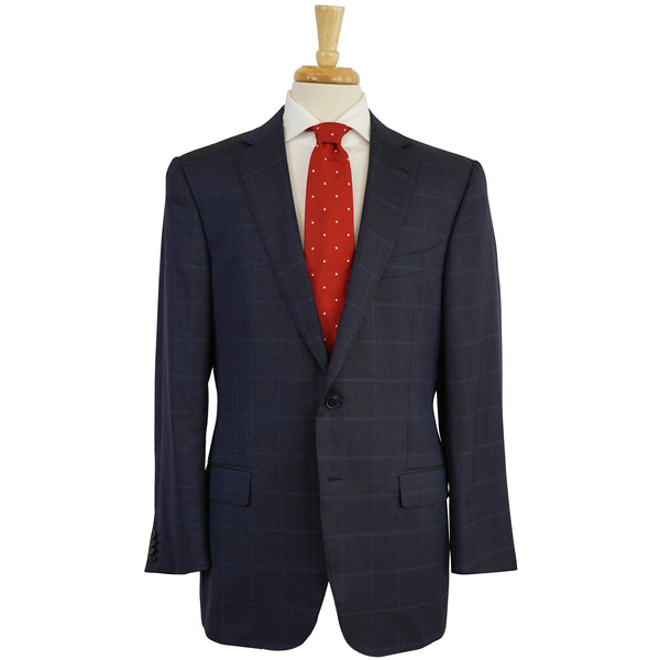 'Trofeo 600' Blue Plaid Wool & Silk Blazer Jacket 44 R Milano