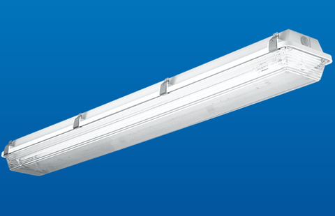 Gasketed Industrial Fluorescent Fixture with 14W LED Bulb retrofit