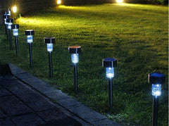 Outdoor Stainless Steel LED Solar Powered  Landscape & Path Lights (set of 10) - Online Lighting - 1