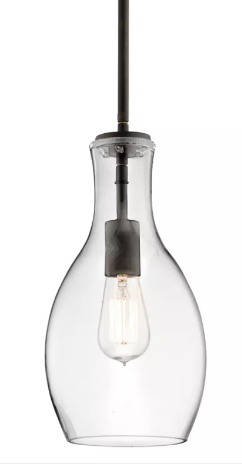 "Kichler 42456CLR Everly Single Light 7"" Wide Mini Pendant with Clear Teardrop Glass Shade and LED Bulb"