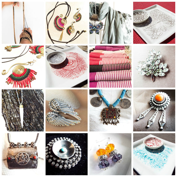 Handmade jewellery, pottery, textiles and vintage pieces