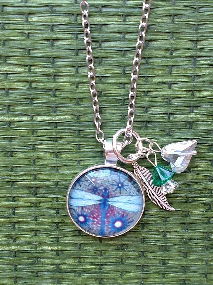 "Blue Dragonfly 18"" Necklace"