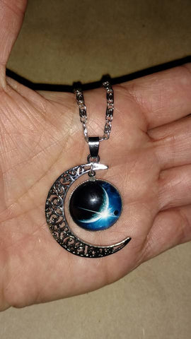"Crescent Moon Galaxy 20"" Necklace"