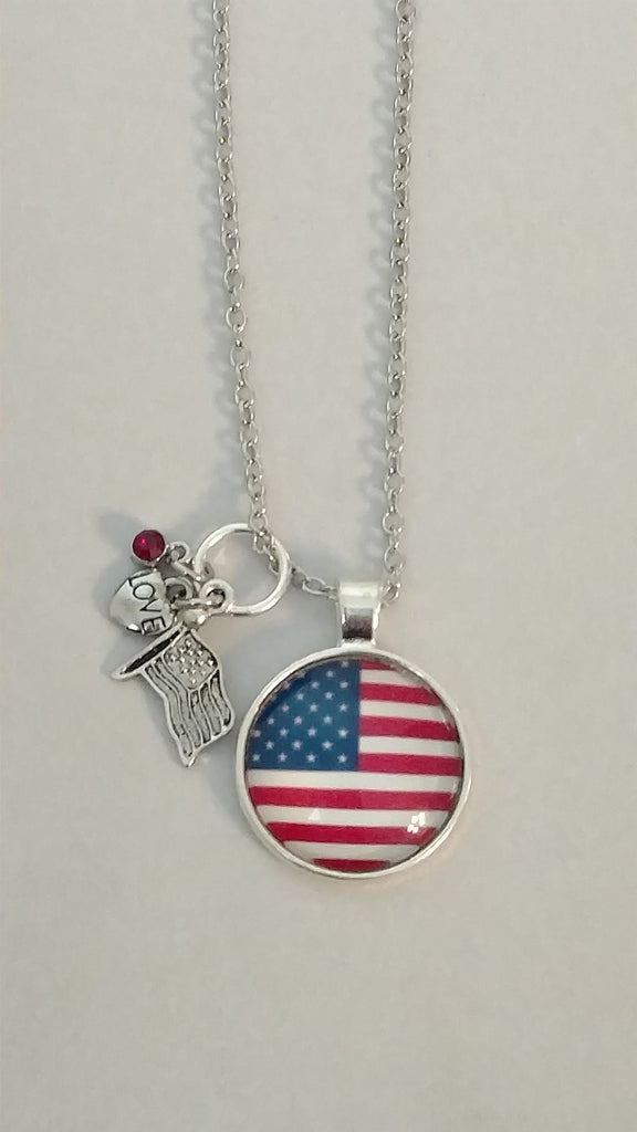 "American Flag Handmade 20"" Necklace"