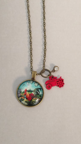 "Rooster Handmade 18"" Necklace"
