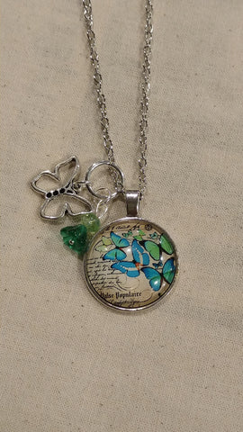 Blue Butterflies Handmade Necklace