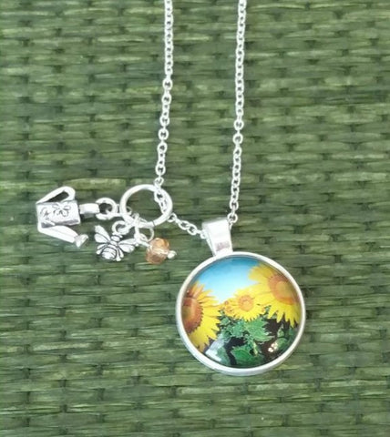 "Sunflowers Handmade 24"" Necklace"