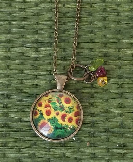 "Field of Sunflowers Handmade 20"" Necklace"
