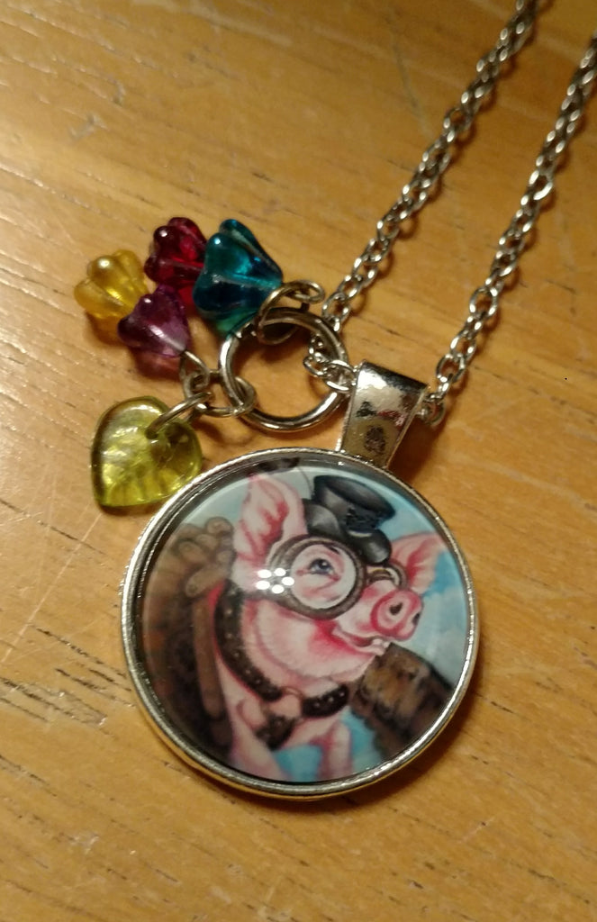 "Flying Steampunk Pig Handmade 24"" Necklace"