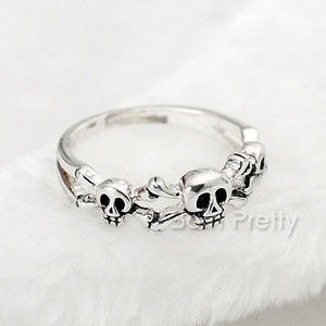 Chunky Skull Silver Plated Ring