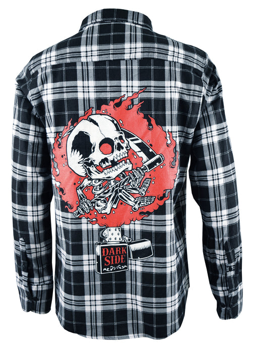 Zippo Skull Black & White Checked Flannel Shirt