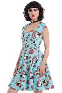 Blue Skull & Rose Dress