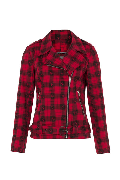 Plaid to the Bone Biker Jacket