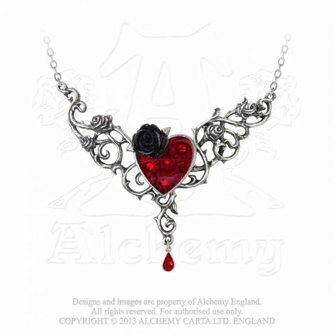 Blood Rose Heart Necklace