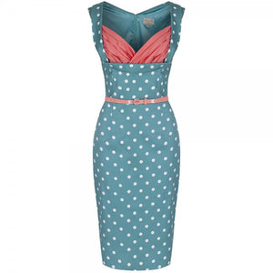 Vanessa Pastel Green Polka Dot Wiggle Dress