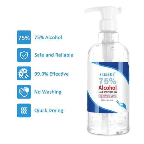 6 Pack 500ml 75% Alcohol Hand Sanitizer, With 99.9% Cleaning Effect, Non-irritating,  No Washing, Quick Drying, Easy to use