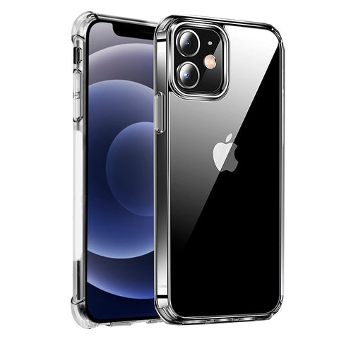Alpha Digital Crystal Clear Case for iPhone 12, Shock Absorption Bumper, Soft Flexible TPU, Anti-Drop, Anti-Fingerprint, 3600 Shockproof, Screen & Camera Protective, Transparent Protective Back Cover, Protective Case for iPhone 12 (2020)
