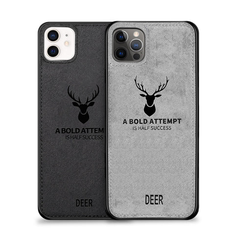 Alpha Digital Luxury Soft Texture Deer Patterned TPU Cloth Protective Case for iPhone 12 & iPhone Pro, Dirt-resistant, Anti-Shock, Anti-Fingerprint, Full Body Protective