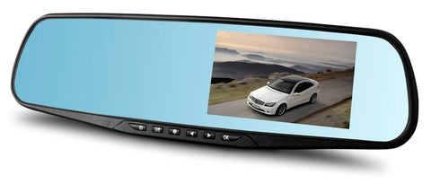 "Vehicle black box dashcam: 1080P, 170°view angle, Rear View Mirror DVR with 4.3"" screen, SD card up to 32GB, motion detection, collision detection, built-in microphone"