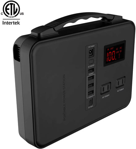 Power Station, 150Wh, Rechargeable Emergency Backup Lithium Battery with 110V/200W AC Outlet, 12V DC Output, USB Ports, LED Flashlight, for Home Travel Camping Outdoors