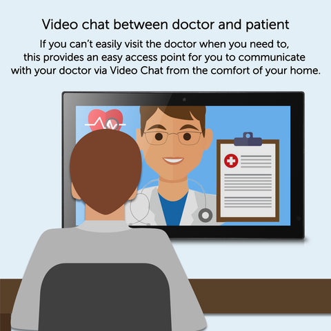 "Telehealth 14"" or 19"" Hi-brightness Screen with built-in Camera for video chat between doctor and patient, 8GB on-board memory and 20GB Cloud storage for precious photos and documents, support APP installation"