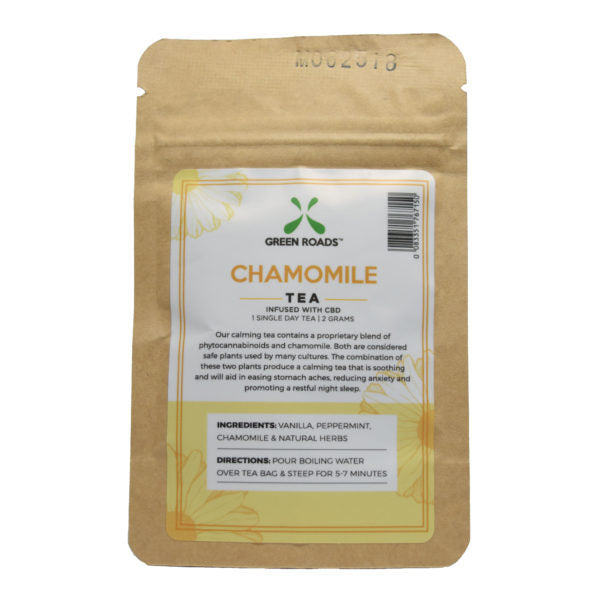 Green Roads CBD Chamomile Tea Single Serving 7.6mg CBD Tea
