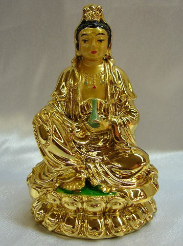 Gold Sitting Kuan Yin - Asianly