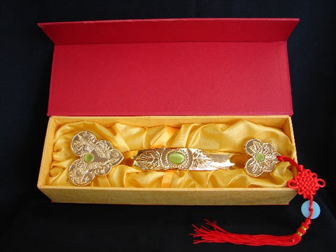 Golden Ru Yi Scepter with Dragon Phoenix Image - Asianly