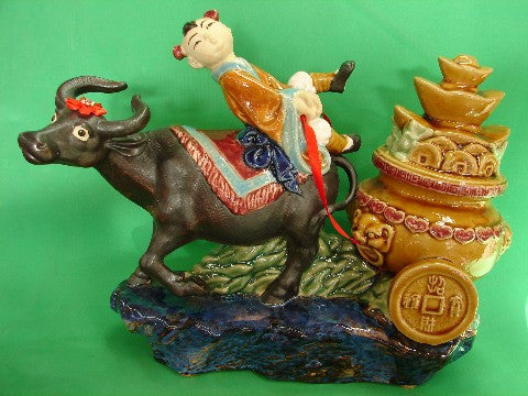 Tai Sui on Ox Statue - Asianly