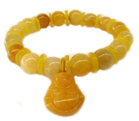 Yellow Topaz Birthstone Bracelets with Buddha Pendant - Asianly