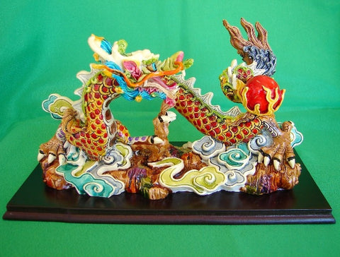 Colorful Dragon Statue Chasing Fire Ball - Asianly