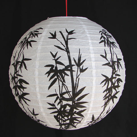 2 of Chinese White Paper Lanterns with Bamboo Pictures - Asianly