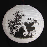 2 of Chinese White Paper Lanterns with Pictures of Bamboo and Panda - Asianly